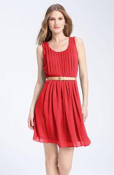 Calvin Klein Belted Chiffon Dress in Poppy