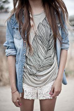 Feather T-shirt, lace shorts, denim shirt