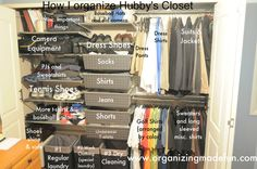Details of a husband's organized closet via organizingmadefun.