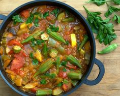 Armenian Vegetable Stew with late-summer and early-fall vegetables, eggplant, peppers, summer squash, tomatoes, okra. Calories 63, Weight Watchers PointsPlus 1. Low carb. Gluten free. Paleo. And darned good!