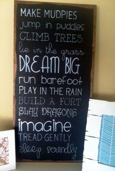 DREAMS FOR BOYS Handpainted Chalkboard Sign for Nursery or Boys Room Wall Decor
