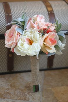 Real Touch Peony and Rose Wedding Bouquet