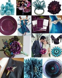 plum, teal and turquoise wedding