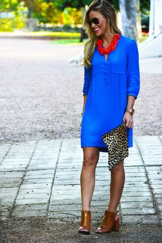 give1DSC 09422 - I absolutely LOVE contrasting colors in fashion! Blue dress with red statement necklace is so much more striking than blue with a gold or neutral necklace and that leopard, oh girl!