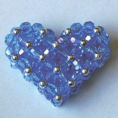 beaded heart-blue
