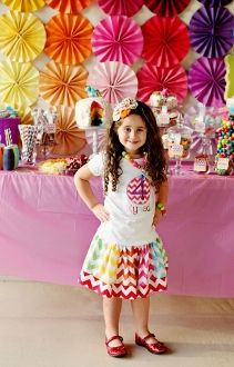 Rainbow  Pinwheels Photo Backdrop Birthday table decorations (and the place to buy the chevron noisemakers!)