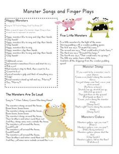 Cute monster songs and poems and monsters for stick puppets.