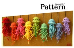 Cute party favors for a rainbow birthday party?  Pattern Hanging Amigurumi Jellyfish by PosiPlush on Etsy, $4.00
