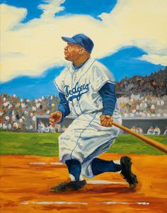 Dodgers Blue Heaven: Dick Perez Paintings of Dodger Hall of Famers at Legendary Auctions - Roy Campanella