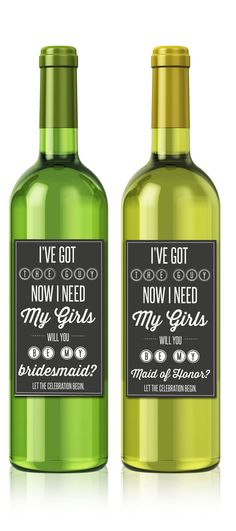 Bridesmaid Wine Bottle Labels by TheDesignBrewery on Etsy, $20.00