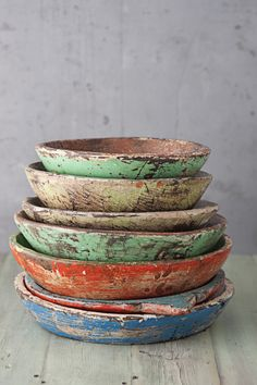 painted wood, wooden bowls, color, old wood, wood bowls, lifestyle photography, antiqu, rustic wood, photography props