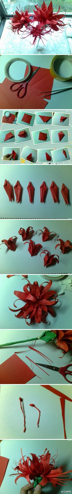 Origami spiderlily/lycoris flower. The pin image is the entirety of the tutorial but it looks pretty easy as long as you can fold a crane.