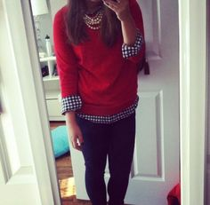 red sweater gingham shirt pearls