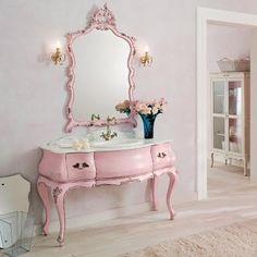 decor, idea, french vaniti, dream, pink vaniti, shabbi chic, paint furnitur, vanities, room