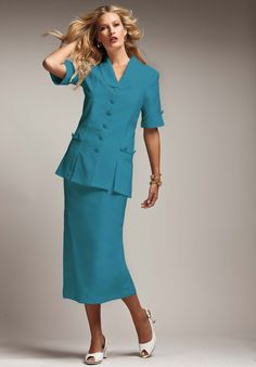 Short-Sleeve 10-Button Skirt Suit | Plus Size Clearance | Roamans