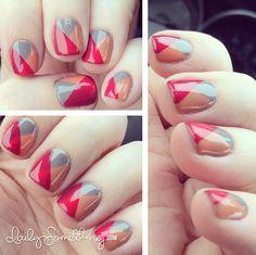 Sheer Plaid Nails - Polishes Used: Essie Chinchilly Essie Watermelon Essie Resort Fling