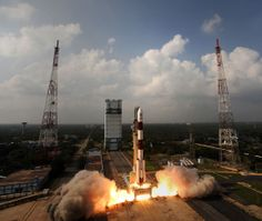 A Polar Satellite Launch Vehicle launches India's first mission to Mars, the Mars Orbiter Mission, from the the Indian Space Research Organisation's Satish Dhawan Space Centre in Sriharikota on Nov. 5, 2013.