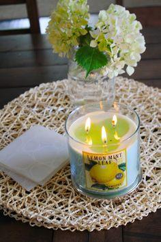 Kitchen table centerpiece amp lemon mint leaf candle