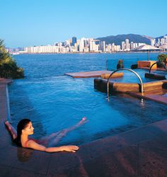 The InterContinental Hong Kong is located at the tip of the Kowloon peninsula and ensures panoramic, front-row harbor views from most of the contemporary rooms, designed with Asian accents that include deep, sunken tubs in the marbled bathrooms.