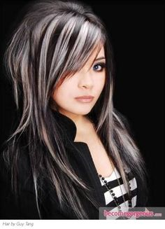 Silver and black hairstyle