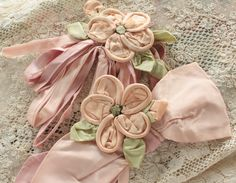 Antique 1920's Large Pink Ribbon Work Flowers