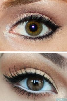 I like the subtle cat eye of the top pic bit I have pale skin so the lighter colors for the bottom pic would probably look better. Dark brown mascara/eye liner and lightish brown eye shadow would be better so there isn't a dramatic contrast. Also light brown/pink blush would be best too.