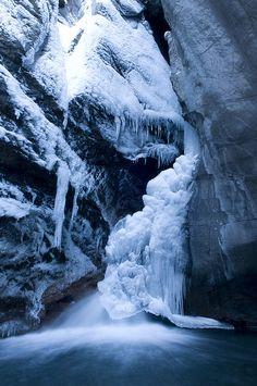 Box Canyon Falls in winter. Colorado