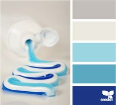 Color: Color Squeezed by Design Seeds - medium grey, light grey, robin's egg blue, medium blue, deep blue.