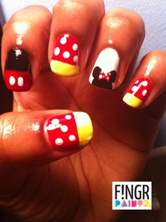 Mickey & Minnie Mouse Nails! Love it!
