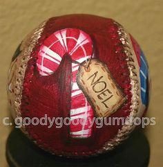 Handpainted Christmas Baseball  by mudpiestudio, via Flickr