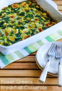 Power Greens Breakfast Casserole with Feta and Mozzarella; this healthy and delicious breakfast has a whole pound of greens! [NEW from Kalyn's Kitchen] #LowCarb #GlutenFree #SouthBeachDiet #HealthyBreakfast