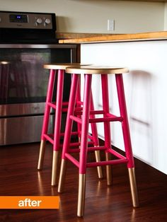 Boring bar stools given character  Could imagine this in a teal and gold combination. #diy