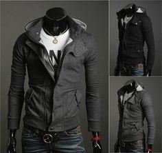 Men's Wool Jacket Multi Zipper Men's Winter Outerwear Multiple Neckline XS,S,M,L