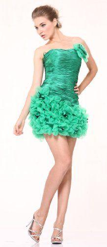 Strapless Satin Organza Ruffle Sweet 16 Cocktail Mini Prom Dress