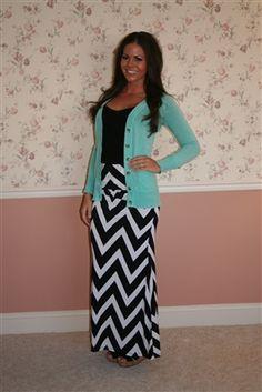 black and white Chevron Maxi Skirt + black shirt and light blue sweater