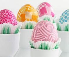 Use fun patterned papers to decoupage pretty Easter eggs.