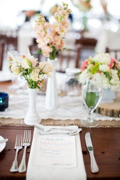 Pink, White, Beige flowers + burlap and lace. Photography: Bia Sampaio Photographs - biasampaio.com burlap runner, galleries, inspiration, glasses, milk glass, shoot inspir, beig flower, centerpieces, parti