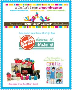 My Merry Messy Life: A Crafter's Dream Grand Prize Giveaway from Red Heart Yarn, Craftsy and Crochet Today!