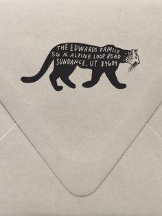 Mountain Lion Return Address Custom Stamp  | Sycamore Street Press
