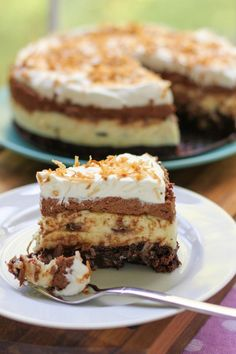 Brownie bottom coconut chocolate creme cake