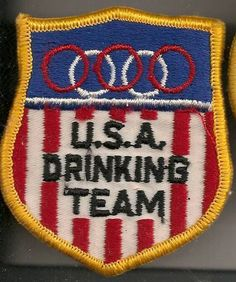 U.S.A. Drinking Team Olympic Style Fully Embroidered Patch Vintage Mint