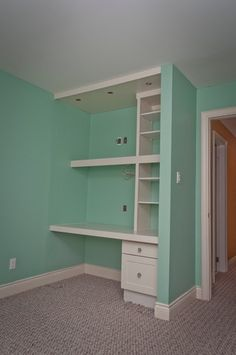 make a desk area in the corner by building a small wall.