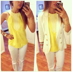 Summer work outfit / business casual - white pants, yellow top, white blazer More outfits and beauty product recommendation on Instagram: famousames