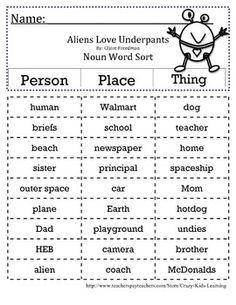 Aliens Love Underpants - Noun Word Sort - cut and paste