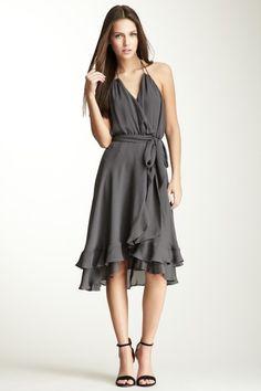 Self Belt Silk Halter Dress