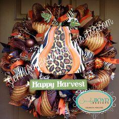 Leopard and Zebra Print Fall Deco Mesh Wreath by Jennifer Boyd Designs.  www.etsy.com/shop/JenniferBoydDesigns www.facebook.com/JenniferBoydDesigns