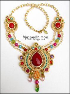 Cream Gold and Multi colored Soutache necklace by MiriamShimon, $190.00