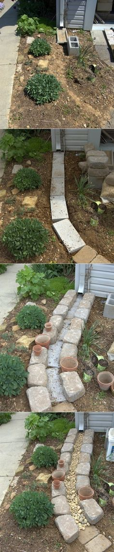 Dry Creek Bed for Drainage. I have a gutter that comes out SO far that you have to step over it on the sidewalk. I might morph this idea....