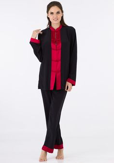 """Drift off to dreamland in the luxurious silk Pajama set featuring """"delightful-dreams"""" exotic buttoned front and contrasting trim along the cuffs. Matching pants with trim are included."""