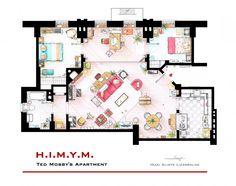 "Ted Mosby's Apartment from ""HIMYM"". This is a hand drawed plan, in scale, coloured with colour pens and with full details of furniture and complements ... The design is made according with the ""real"" apartments respecting the spaces, proportions, furniture and objets presents in the studio.   I have extended the walls with the doors to the bedrooms to fit these in the plan.  You can buy an original artworks here: http://www.etsy.com/shop/FLOORPLANSTV or writting me to: ializar@hotmail.com"